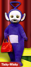 Tinky Winky with red thing that surely looks like a purse