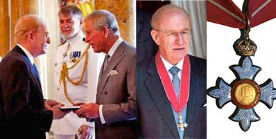 Becton (left) receives medal from Prince Charles, with closeup of the medal (right)
