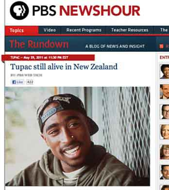 "Hackers posted a faked story about Tupac Shakur on the ""NewsHour"" website."