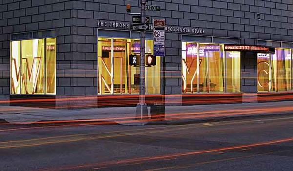 Street view of The Greene Space in WNYC's Lower Manhattan building