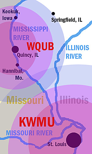 Map of two stations' broadcast areas along Mississippi River north of St. Louis