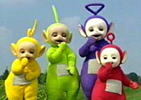 Teletubbies sharing a giggle