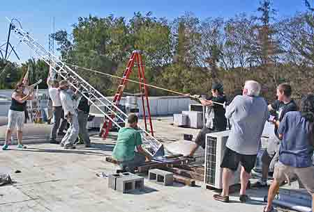 Volunteers for KDRT in Davis, Calif., had to erect a new antenna after a full-power station encroached on their LPFM's frequency. (Photo: Davis Media Access.)