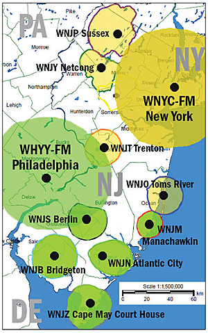 Color-coded map of broadcast coverage areas of WHYY, WNYC and their New Jersey stations.