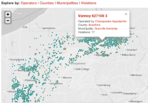 NPR's map of fracking sites in Pennsylvania shows which well drillers have been cited for environmental violations. Green dots signify no violations; orange means one or more.