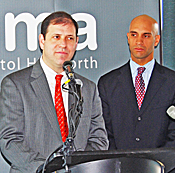 Stern, then NPR's chief exec, announces the land deal. At right: D.C. Mayor Adrian Fenty. (Photo: NoMa BID.)