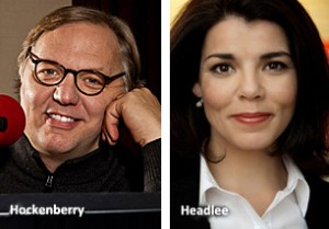 "John Hockenberry, left, and Celeste Headlee have co-hosted ""The Takeaway"" since fall 2009 (Photo: Marco Antonio)."