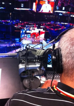 WUSF host Craig Kopp looks down on the floor of the Republican National Convention