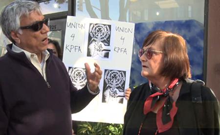 Arlene Englehardt, right, and a KPFA protester