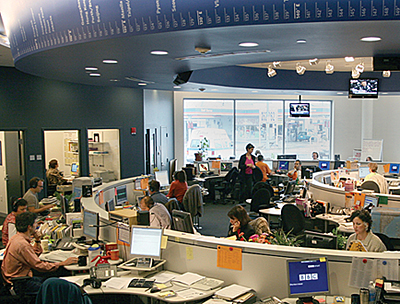 "Newsroom of PRI's ""The World"" radio news program at WGBH"