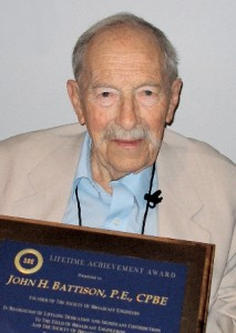 John Battison with the Society of Broadcast Engineers Lifetime Achievement Award, later named in his honor. (Photo: SBE)