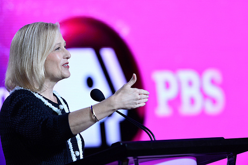 PBS President Paula Kerger addresses reporters Jan. 14 at the TCA Winter Press Tour in Pasadena, Calif. (Photo: Rahoul Ghose/PBS)