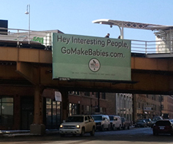 "WBEZ's new ad campaign encourages young people around the city to ""go make babies,"" and pairs them up with fellow ""interesting people"" for purposes of procreation. (Photo courtesy of WBEZ)"