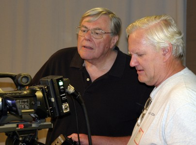 "Fred Barzyk, left, with cameraman Stephen Mann, a former pubcaster at KTEH in San Jose, Calif., now part of KQED. ""I learn something every time I work with him,"" Mann says of Barzyk. (Photo: Courtesy Stephen Mann)"