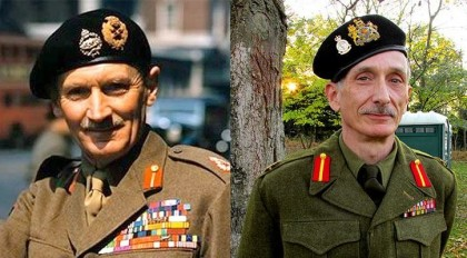 Field Marshal Bernard Montgomery, left, and his portrayer, Joe Bevilacqua.