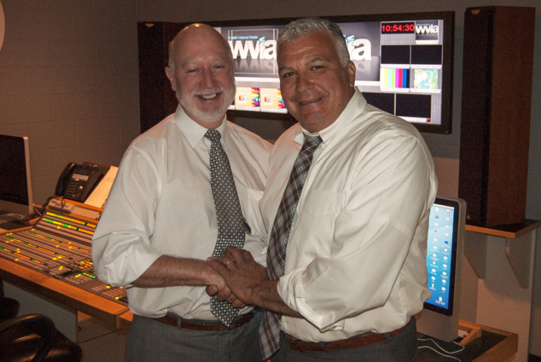 Bill Kelly, left, and Tom Currá celebrate their new roles in June 2013: Currá taking over as general manager, and Kelly starting to raise major gifts for the station. (Photo: WVIA)