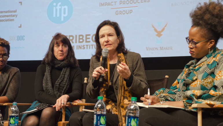 Sally Jo Fifer, president of the Independent Television Service, speaks to attendees at a New York stop in a listening tour about the place of independent documentaries on public TV. (Photo: Andrew Popper)