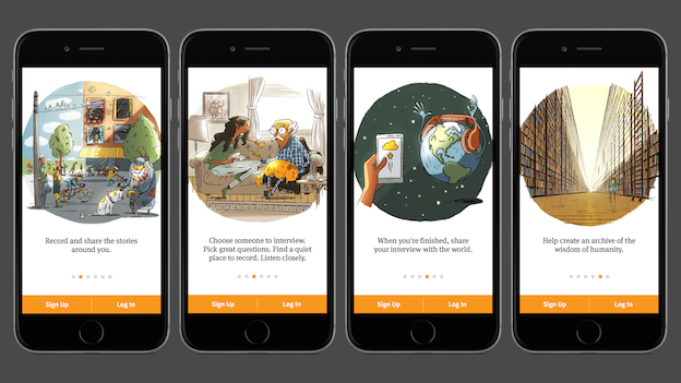Screenshots from the new StoryCorps mobile app.