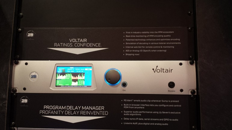 The Voltair box on display at the NAB Show in Las Vegas. (Photo: Scott Fybush, Current)