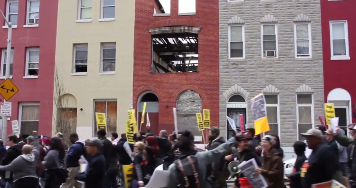 Screenshot of Baltimore protests from WEAA video.