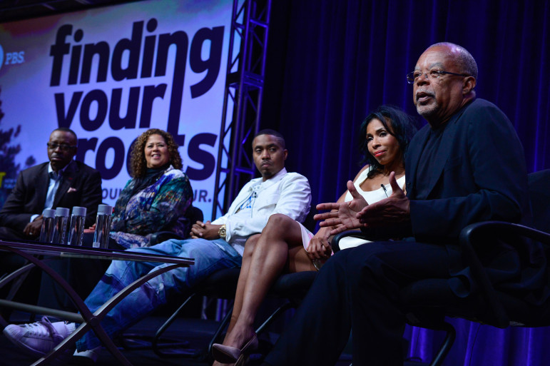 Henry Louis Gates, right, discusses the second season of Finding Your Roots, which featured Ben Affleck's ancestors' stories, at the Television Critics Association Summer Press Tour last July in Beverly Hills, Calif. Other stars on the program, from left: actor Courtney B. Vance, actor and playwright Anna Deavere Smith, recording artist Nas and actor Khandi Alexander. (Photo: Rahoul Ghose, PBS)