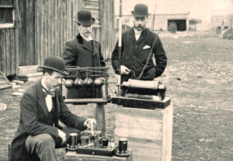 """These British Post Office engineers were not able to attend the Public Radio Engineering Conference. (Photo: """"Post Office Engineers"""" by Cardiff Council Flat Holm Project, licensed under Creative Commons via Wikimedia Commons)"""