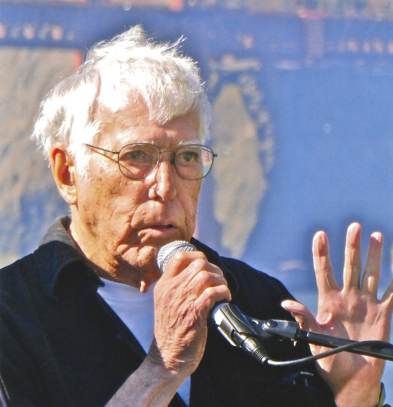 Moore reads one of his poems in May 2013 during a San Francisco Museum of Modern Art event at the Golden Gate National Recreation Area in San Francisco. (Photo: Phil Greene)