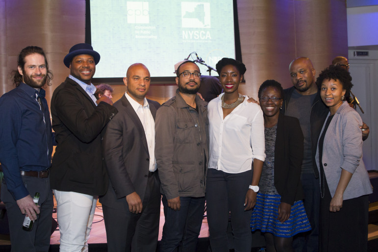 The winners of NBPC 360, a new content funding competition from the National Black Programming Consortium, from left: Oren Goldberg, Sultan Sharrief, Jason Samuels, Garland McLaurin, Nosarieme Garrick, Hassaton Diallo, Damon Colquhoun, Shertease Wheeler. (Photo: Lindsey Seide, NBPC)