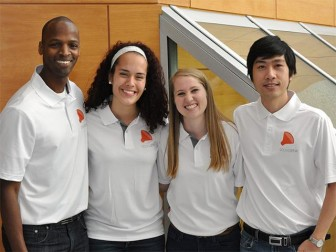 Team SoundStir, from left: Kristofferson Culmer, Alix Carruth, Rachel Koehn, Son Nguyen. Photo: Reynolds Journalism Institute.