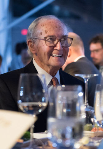 Former FCC Chair Newton Minow hears tributes to his long career at WTTW's Diamond Celebration May 5. (Photo: Megan Bearder)