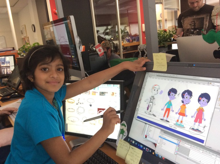 Trisha designs her own character, Oona, for a Cyberchase episode set to air in November. (Photo: Make-A-Wish Eastern Ontario)