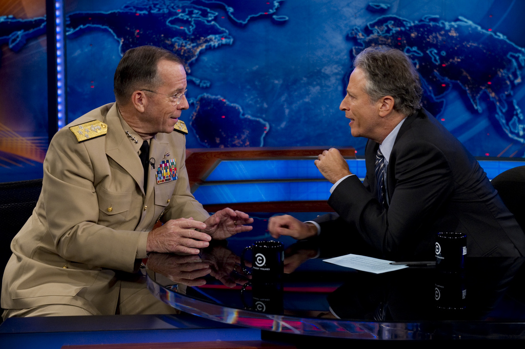 Jon Stewart conducts an interview on The Daily Show. (Photo: Flickr/Chairman of the Joint Chiefs of Staff)