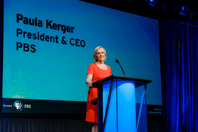 PBS President Paula Kerger delivers her keynote address Tuesday at the PBS Annual Meeting in Austin, Texas. (Photo: John Pesina, PBS)
