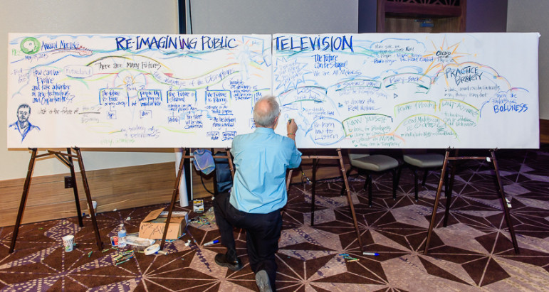An artists works to capture the theme of a session at the PBS Annual Meeting in Austin, Texas. (Photo: John Pesina, PBS)
