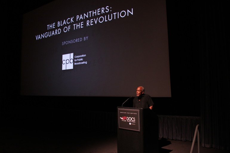 Stanley Nelson welcomes an AFI Docs audience to a screening of his latest film, The Black Panthers: Vanguard of the Revolution.(Photo: AFI)