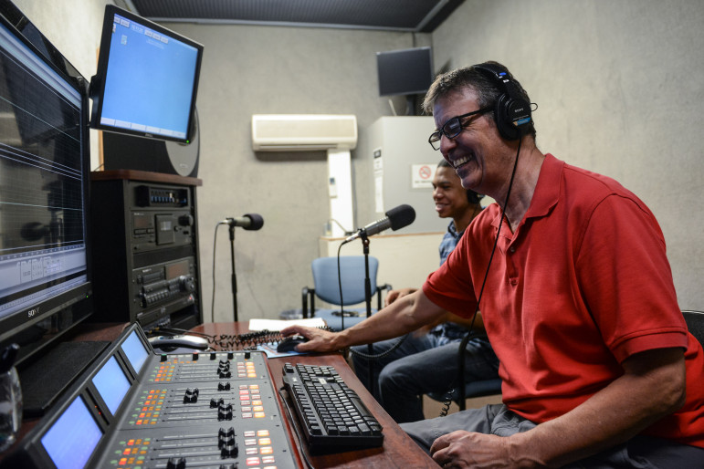 Staff and students utilize WUTC's on-campus studios. The university is considering moving the station off-campus. (Photo: Chuck Cantrell)