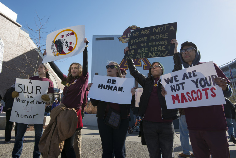 Protesters march in Minneapolis in November 2014 to protest the name of the Washington football team. (Photo: Fibonacci Blue, via Flickr/Creative Commons)
