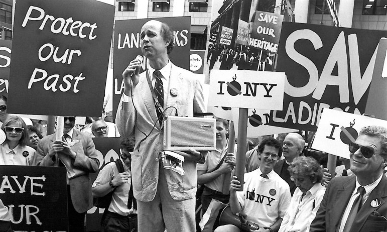 An award-winning episode of WLIW's Treasures of New York revisited the city's landmark preservation movement. Above: Kent Barwick, then president of the Municipal Arts Society, speaks during a rally to protect New York City's 1965 Landmarks Law. (Photo: Steven Tucker).