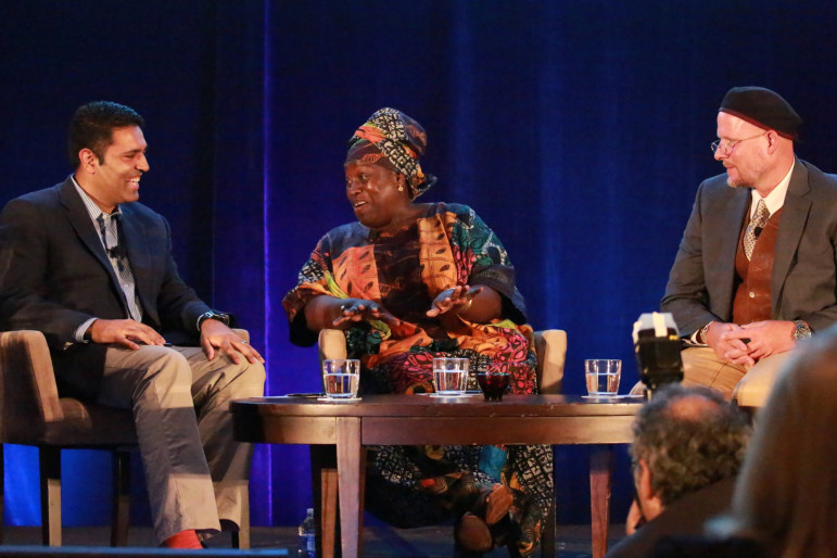 Hari Sreenivasan, left, interviews CPB Murrow Award winners Ofeibea Quist-Arcton and David Gilkey Thursday at the Public Media Development and Marketing Conference. (Photo: Mark Vogelzang)