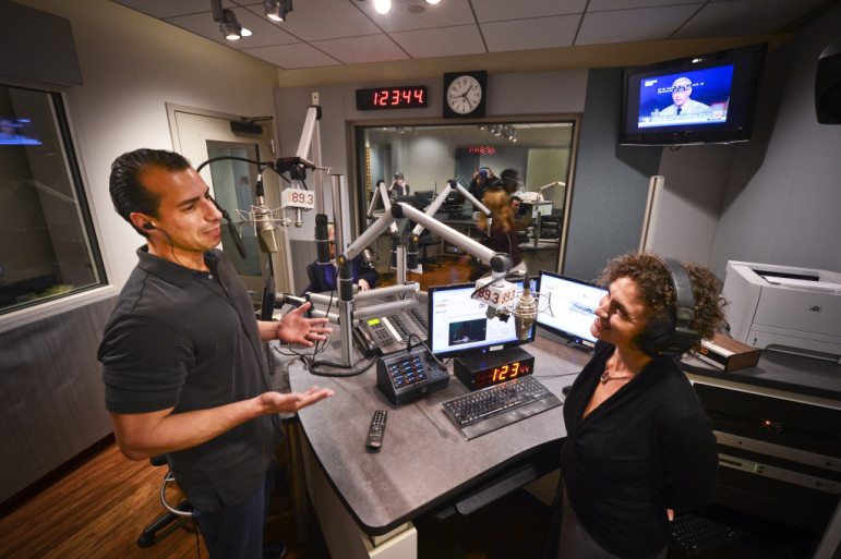 Martínez and his Take Two co-host, Alex Cohen, in KPCC's studios. (Photo: Southern California Public Radio)