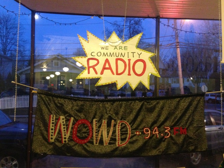 A banner promotes WOWD, a new low-power FM radio station coming to Takoma Park, Md. (Photo: Mike Janssen, Current)