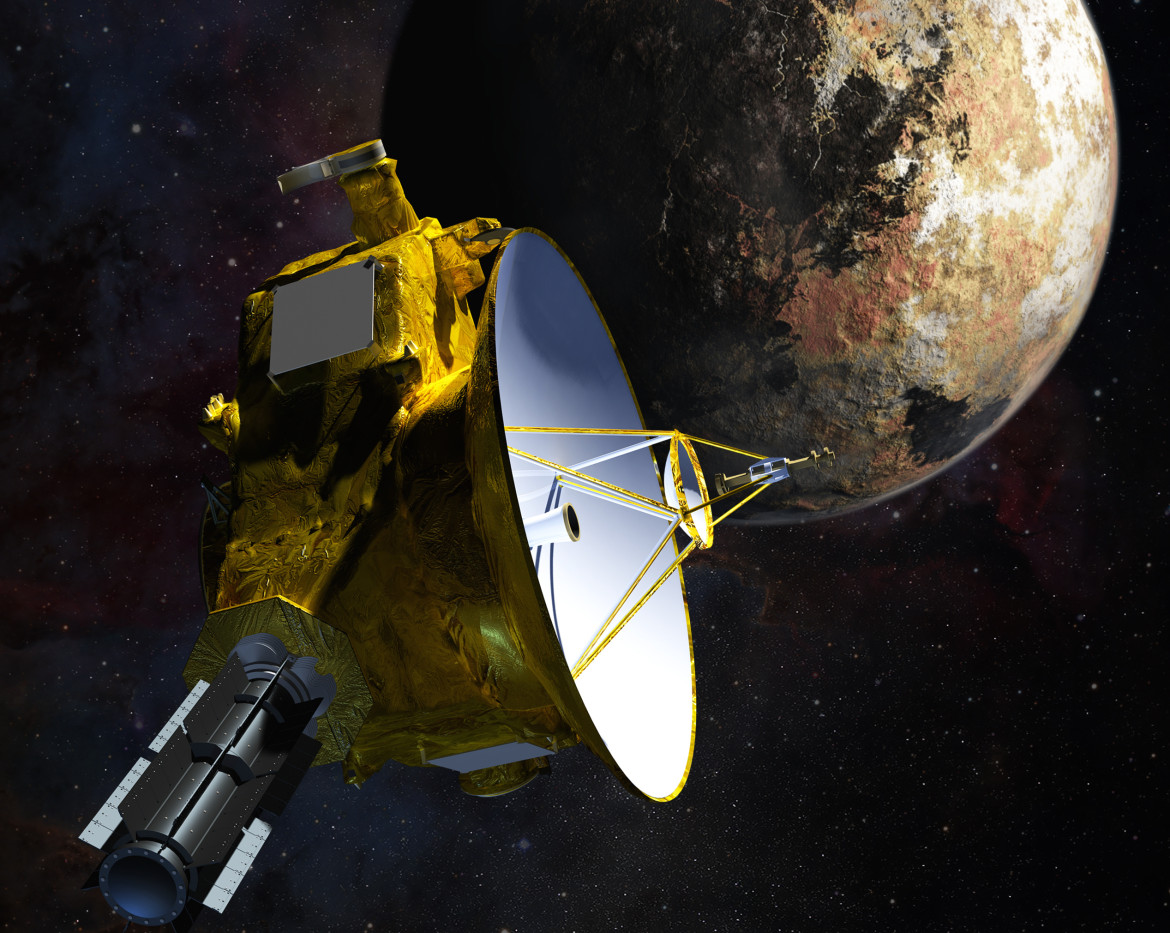 An artist's rendition of the New Horizons spacecraft approaching Pluto, part of the Nova special Chasing Pluto.  (Image: Johns Hopkins University Applied Physics Laboratory)