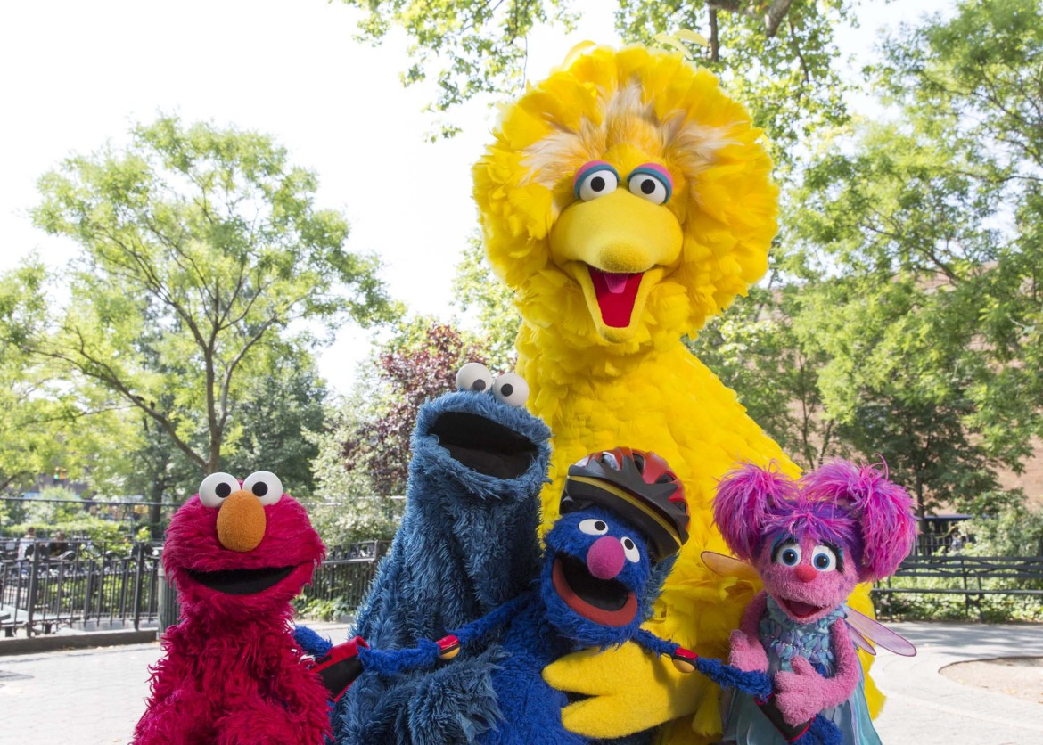 Sesame Street characters Elmo, Cookie Monster, Grover, Abby Cadabby and Big Bird visit Central Park in New York City. (Photo: Richard Termine)