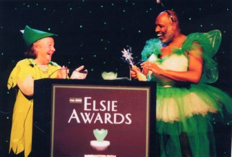 Hillman plays Peter Pan as WQED President George Miles poses as Tinker Bell at the 2002 Elsie Awards. (Photo: Hillman Family Foundations)