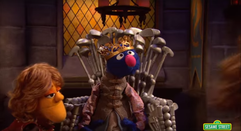 Screenshot from Sesame Street's parody of HBO's Game of Thrones.