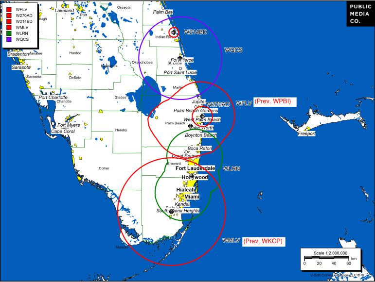 Public radio coverage of the West Palm Beach market. (Map: Public Media Co.)