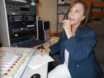Judith Valente on phone in studio
