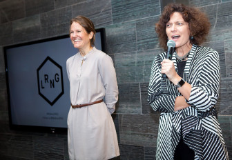 Lindl, left, and Collective Shift chief executive Connie Yowell speak during LRNG's launch event in San Francisco. (Photo: Colson Griffith Photography)