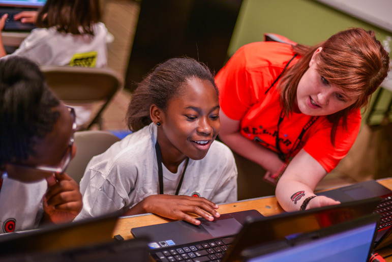 At a Geek Squad Academy offered as Dallas City of Learning event this summer, students learn how to connect digitally.