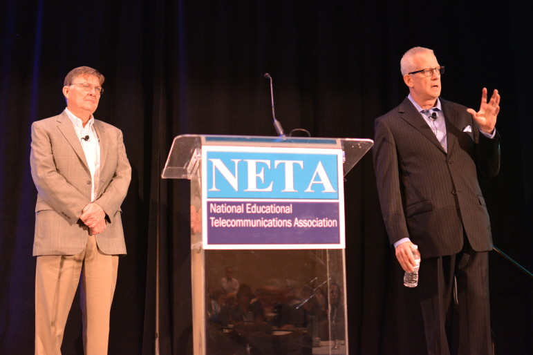 From left, public media consultants Vincent Curren and John Lawson address the crowd at NETA's annual conference in Tampa, Fla. Photo: Ben Mook, Current.